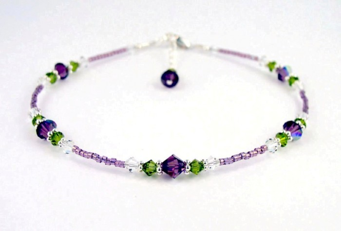 ANK-GAR400_amethyst_rose_garden_beaded_anklet 65 Fabulous & Stunning Handmade Beaded Gemstone Jewelries
