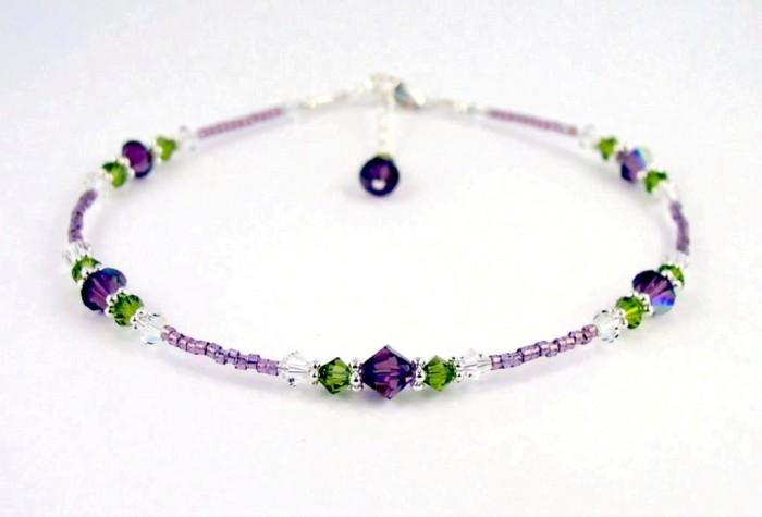 ANK-GAR400_amethyst_rose_garden_beaded_anklet 65 Fabulous & Stunning Handmade Beaded Gemstone Jewelries