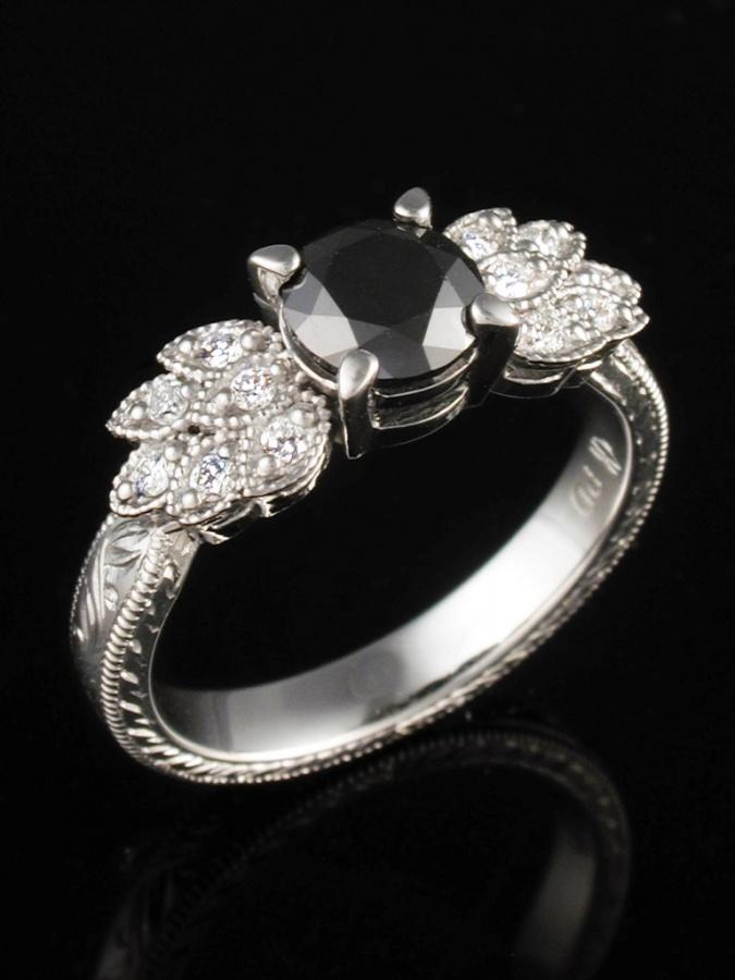 ASLE-antique-style-leaf-engagement-ring-black-diamond-0.90ct-wilt-pv-12 50 Unique Vintage Classic Diamond Engagement Rings