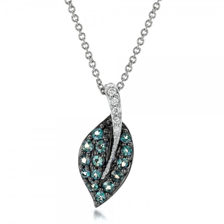 Alexandrite-and-Diamond-Leaf-Pendant-front-100721 50 Unique Diamond Necklaces & Pendants