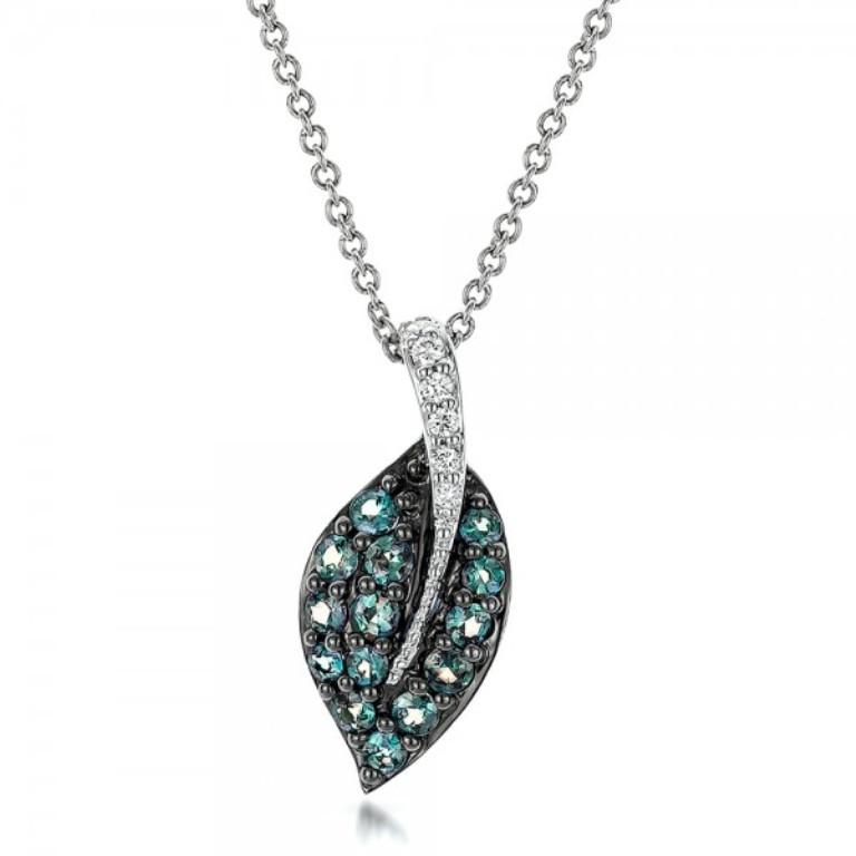 Alexandrite-and-Diamond-Leaf-Pendant-front-100721 50 Unique Diamond Necklaces & Pendants