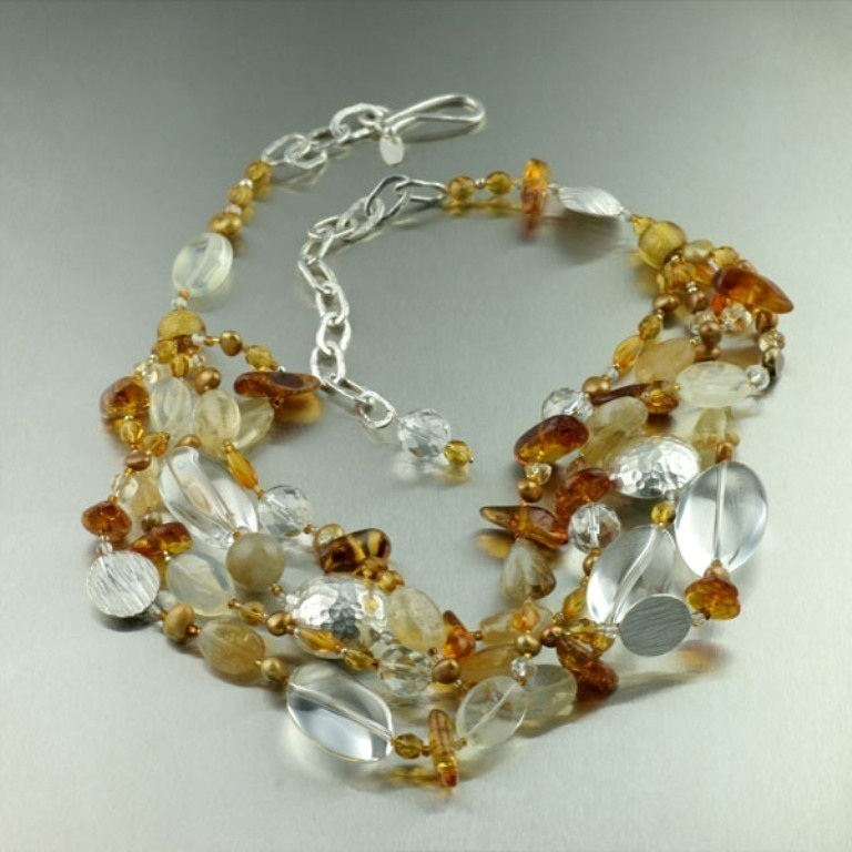 Amber-Clear-Quartz-Citrine-Necklace-BCN21-1 65 Fabulous & Stunning Handmade Beaded Gemstone Jewelries