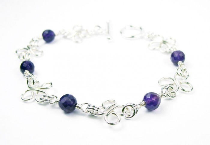 B12005a-Silver-Wire-Wrap-Bracelets 65 Fabulous & Stunning Handmade Beaded Gemstone Jewelries
