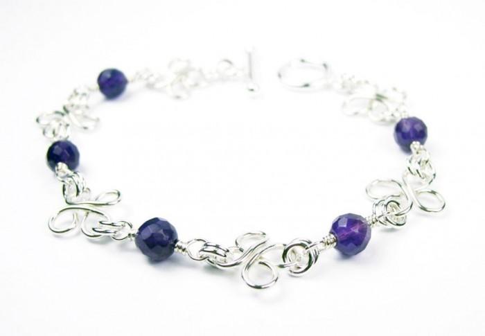 B12005a-Silver-Wire-Wrap-Bracelets 65 Fabulous & Stunning Handmade Beaded Gemstone Jewelries