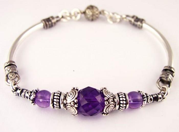 BRAC09b-amethyst-gemstone-bracelet 65 Fabulous & Stunning Handmade Beaded Gemstone Jewelries
