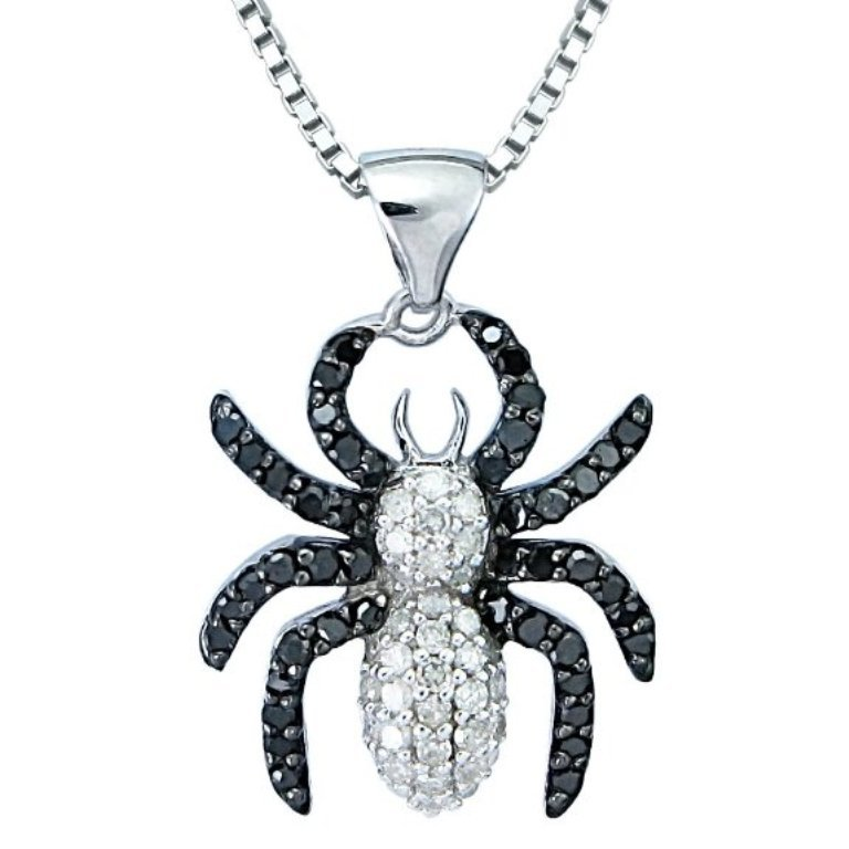 Black-White-Diamond-Spider-Pendant-Necklace 50 Unique Diamond Necklaces & Pendants