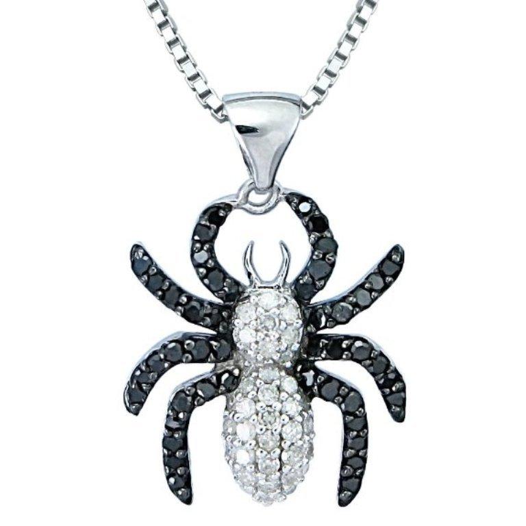 Black-White-Diamond-Spider-Pendant-Necklace 50 Unique Diamond Necklaces & Pendants
