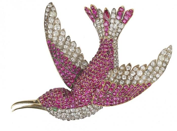 Brooch-humming-bird-ruby-diamond 35 Elegant & Wonderful Antique Diamond Brooches