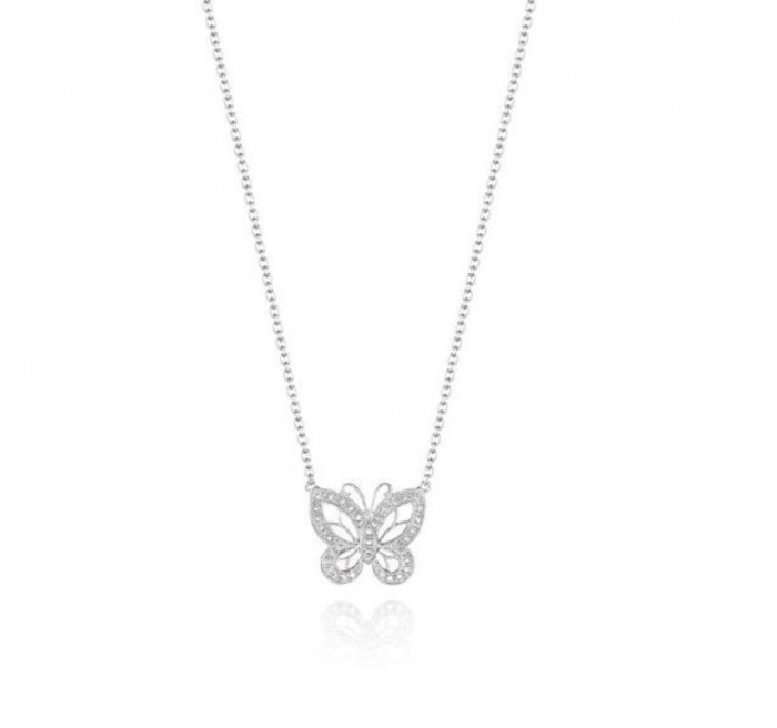 Butterfly-Diamond-Silver-Pendant-N0086SL 50 Unique Diamond Necklaces & Pendants