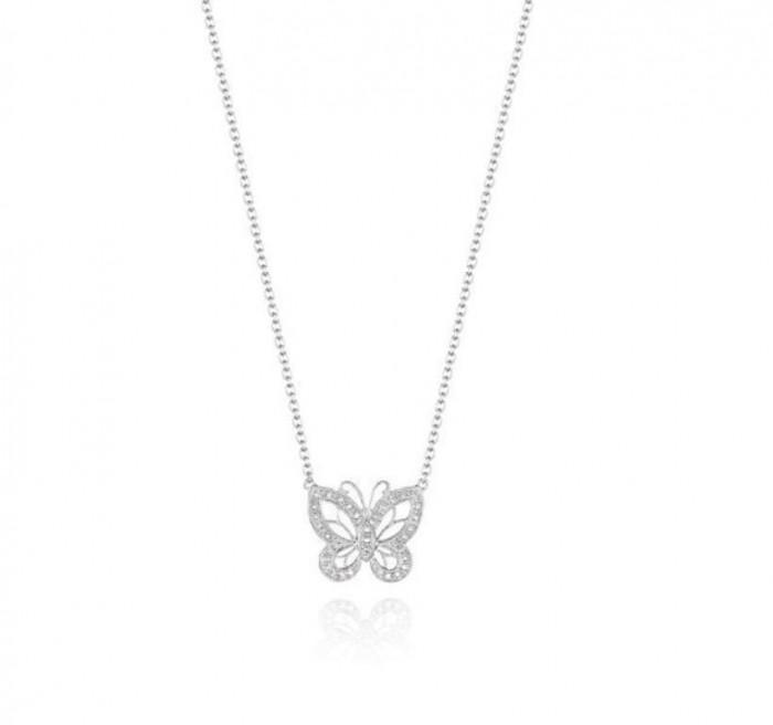 Butterfly-Diamond-Silver-Pendant-N0086SL 50 Unique Diamond Necklaces & Pendants