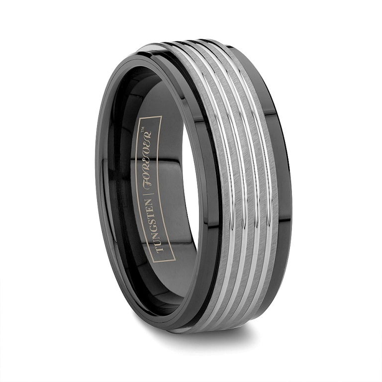 Byzantine-Black-Ceramic-Wedding-Band-With-Tungsten-Inlay 60 Unbelievable Ceramic Wedding Bands for Him & Her
