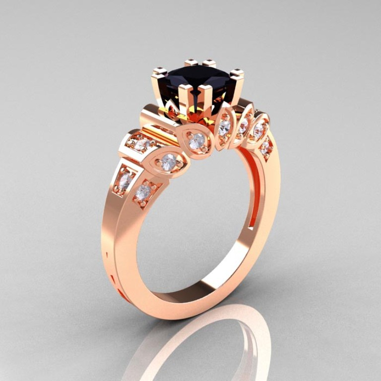 Classic-French-Rose-Gold-1-CT-Princess-Black-White-Diamond-Engagement-Ring-R216P-RGDBD-P-700x700 50 Non-Traditional Black Diamond Rose Gold Engagement Rings