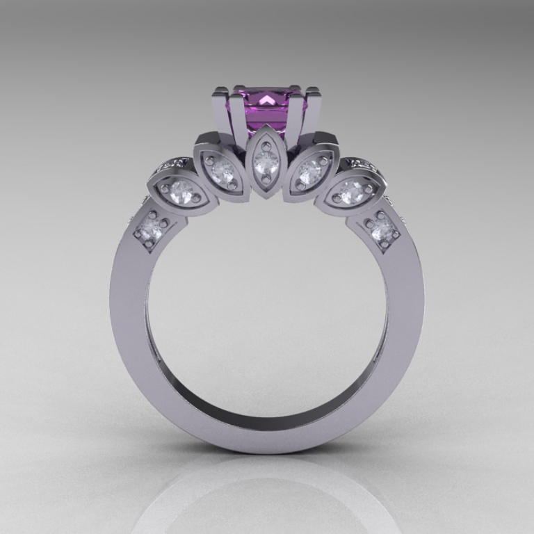 Classic-French-White-Gold-1-CT-Princess-Lilac-Amethyst-Diamond-Engagement-Ring-R216P-WGDLA-F-700x700 50 Unique Vintage Classic Diamond Engagement Rings
