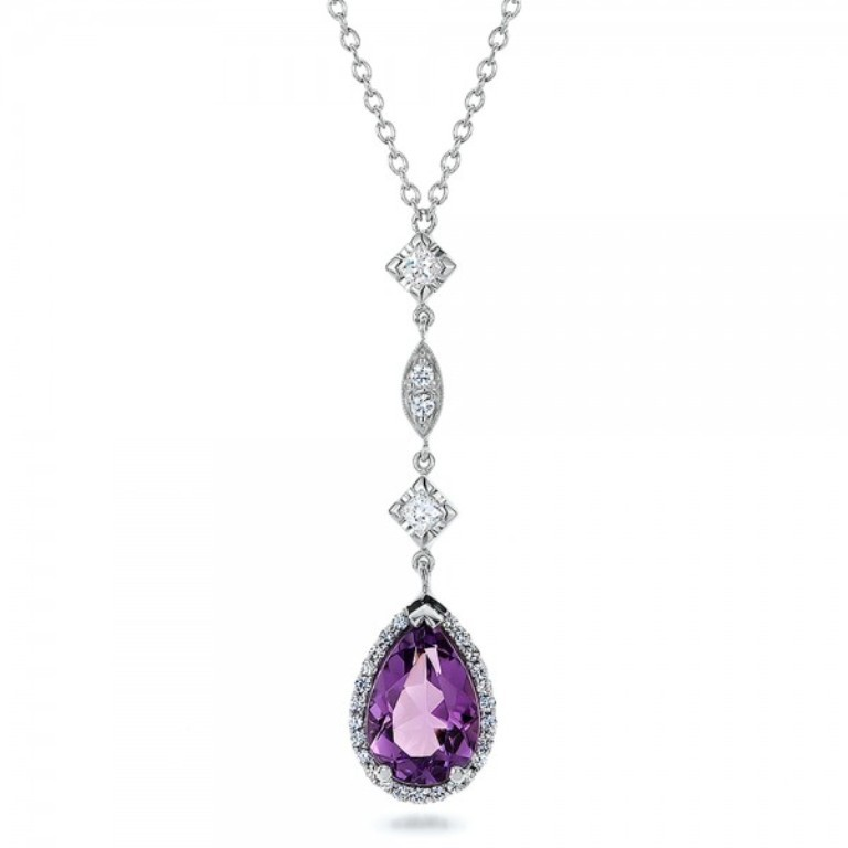 Custom-Amethyst-and-Diamond-Halo-Pendant-front-100701 50 Unique Diamond Necklaces & Pendants