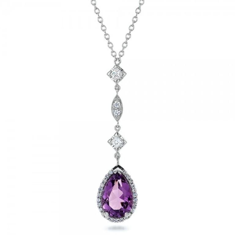 Custom-Amethyst-and-Diamond-Halo-Pendant-front-100701 50 Unique Diamond Necklaces & Pendants