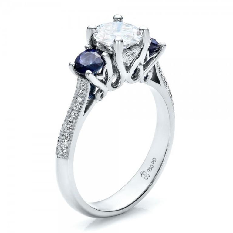 Custom-Blue-Sapphire-and-Diamond-Engagement-Ring-3Qtr-100116 35 Fabulous Antique Palladium Engagement Rings