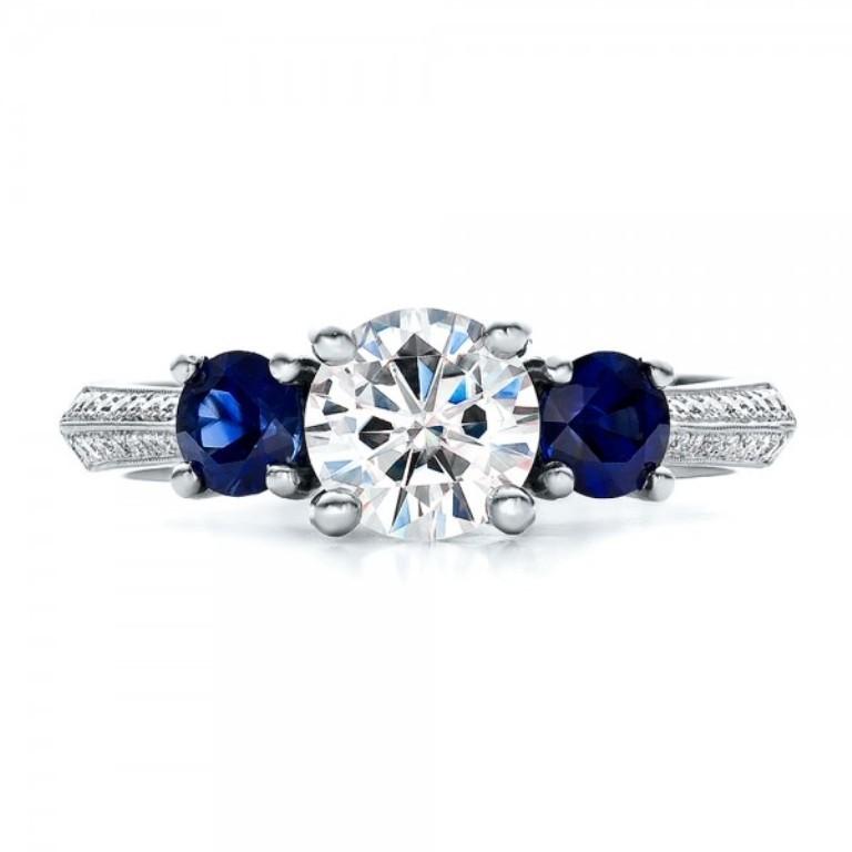 Custom-Blue-Sapphire-and-Diamond-Engagement-Ring-top-100116 35 Fabulous Antique Palladium Engagement Rings