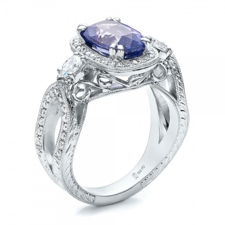 Custom-Blue-Sapphire-and-Diamond-Halo-Engagement-Ring-3Qtr-100783 35 Fabulous Antique Palladium Engagement Rings