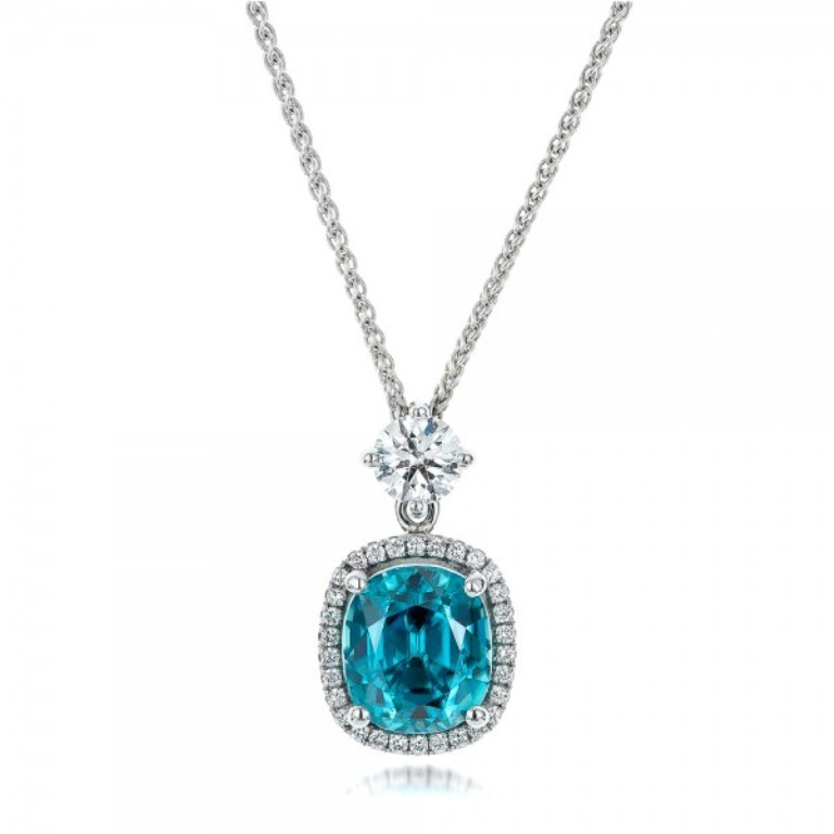 Custom-Blue-Zircon-and-Diamond-Pendant-front-101181 50 Unique Diamond Necklaces & Pendants