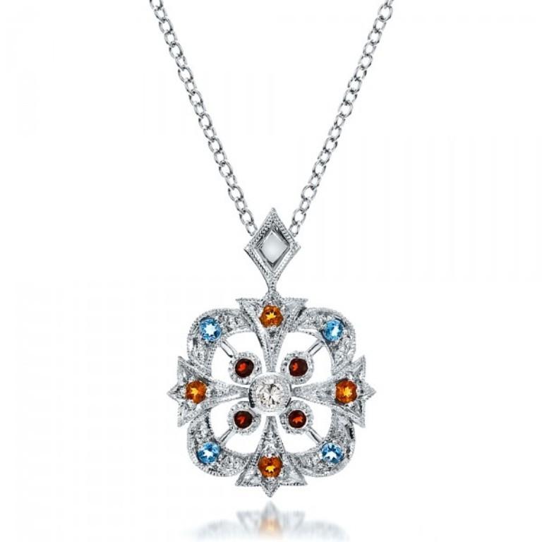 Custom-Colored-Stones-Pendant-front-100066 50 Unique Diamond Necklaces & Pendants
