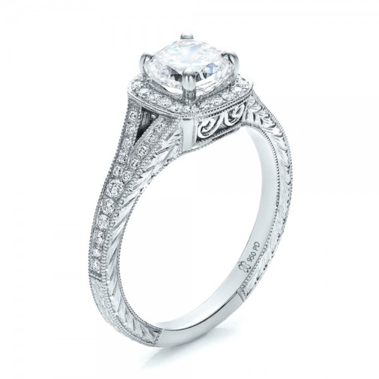 Custom-Diamond-Halo-and-Hand-Engraved-Engagement-Ring-3Qtr-100277 35 Fabulous Antique Palladium Engagement Rings