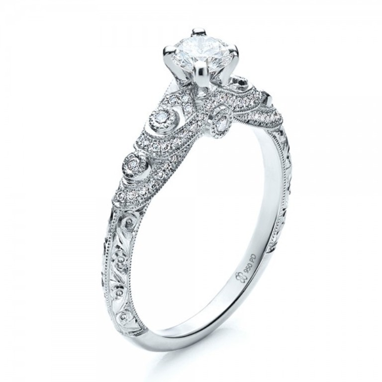 Custom-Diamond-and-Hand-Engraved-Engagement-Ring-3Qtr-100054 35 Fabulous Antique Palladium Engagement Rings