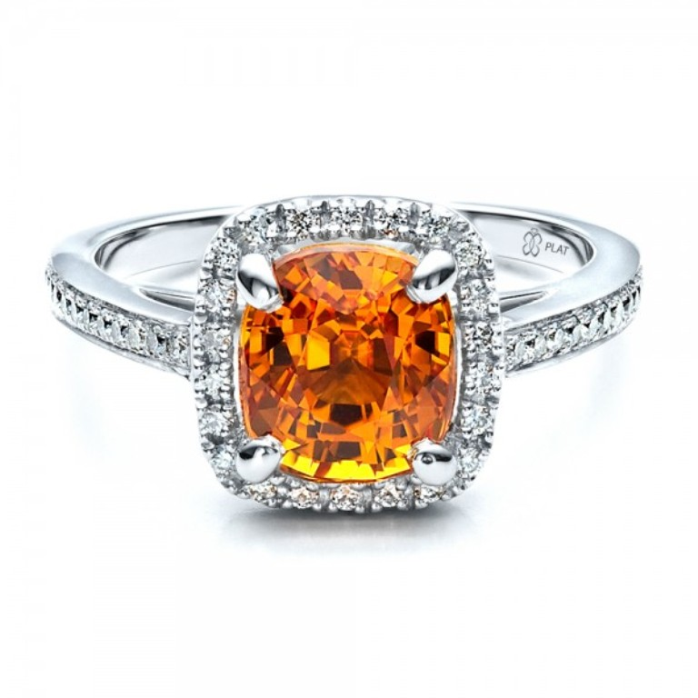 Custom-Diamond-and-Orange-Sapphire-Engagement-Ring-flat-14521 40 Elegant Orange Sapphire Rings for Different Occasions
