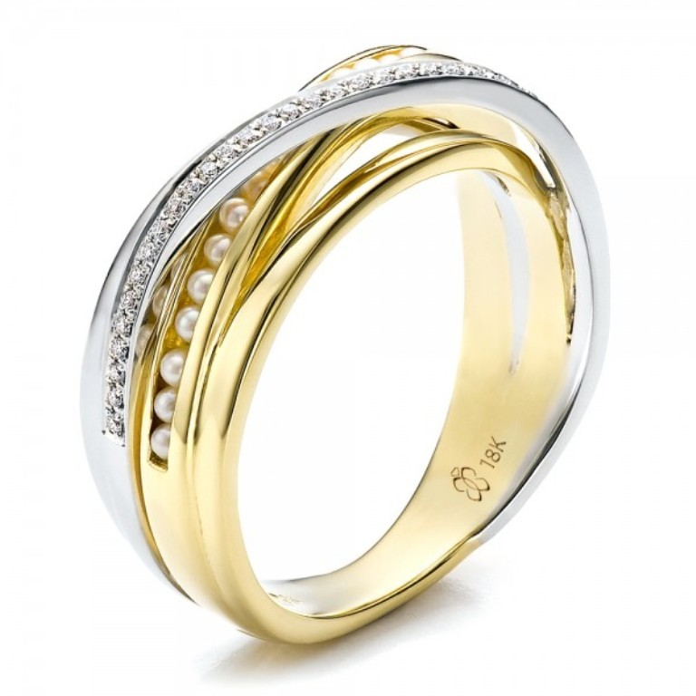 Custom-Gold-With-Pearl-and-Diamond-Wedding-Bands-For-Women 60 Breathtaking & Marvelous Diamond Wedding bands for Him & Her