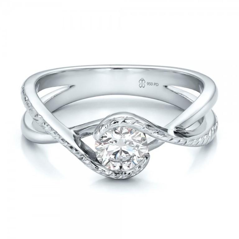 Custom-Hand-Engraved-Diamond-Solitaire-Engagement-Ring-flat-100791 35 Fabulous Antique Palladium Engagement Rings