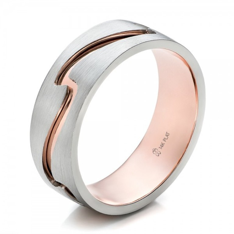 Custom-Mens-Two-Tone-Rose-Gold-and-Platinum-Band-3Qtr-100819 Top 60 Stunning & Marvelous Rose Gold Wedding Bands