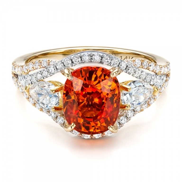 Custom-Orange-Sapphire-Engagement-Ring-flat-1001171 40 Elegant Orange Sapphire Rings for Different Occasions