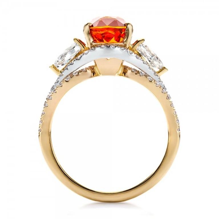 Custom-Orange-Sapphire-Engagement-Ring-front-100117 40 Elegant Orange Sapphire Rings for Different Occasions