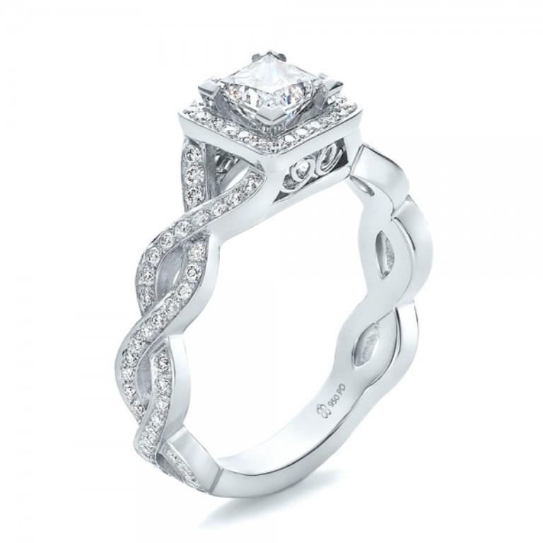 Custom-Princess-Cut-Diamond-Halo-Engagement-Ring-3Qtr-100604 35 Fabulous Antique Palladium Engagement Rings