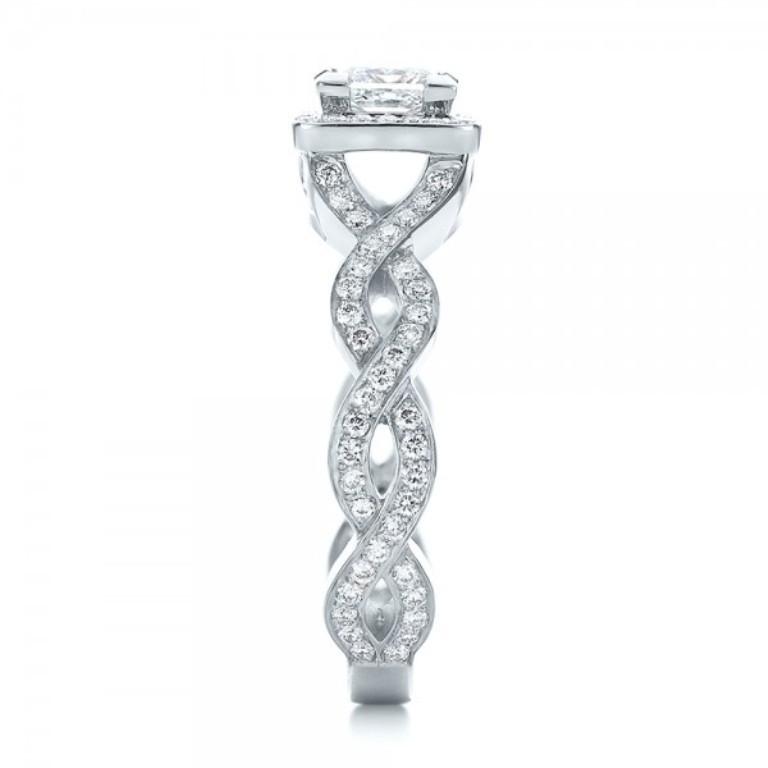 Custom-Princess-Cut-Diamond-Halo-Engagement-Ring-side-100604 35 Fabulous Antique Palladium Engagement Rings