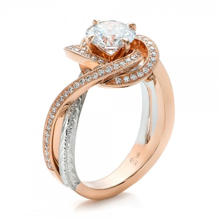 Custom-Rose-Gold-and-Platinum-Diamond-Engagement-Ring-3Qtr-100822 Top 70 Dazzling & Breathtaking Rose Gold Engagement Rings