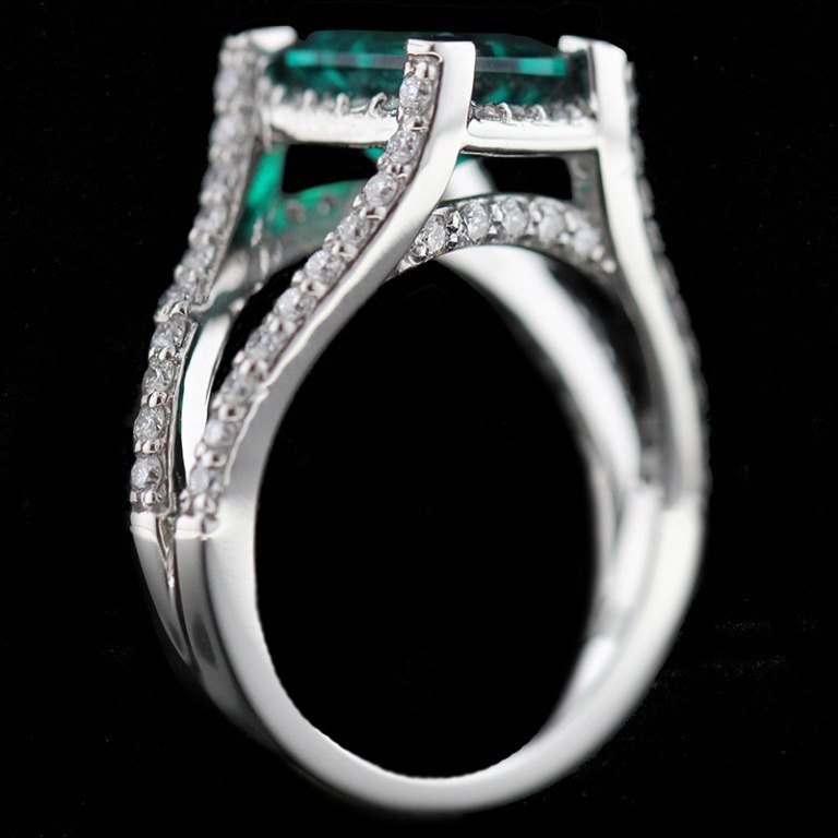 Custom_Split-Shank-Engagement-Ring_Emerald-cut-Emerald-Gemstone 60 Magnificent & Breathtaking Colored Stone Engagement Rings