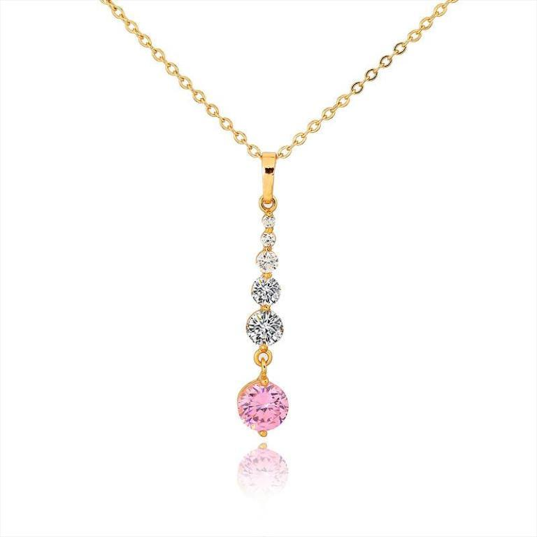 D0371+Fashion+Womens+Jewelry+Gold+Plated+Crystal+Zircon+Diamond+Necklace+Pendants 50 Unique Diamond Necklaces & Pendants