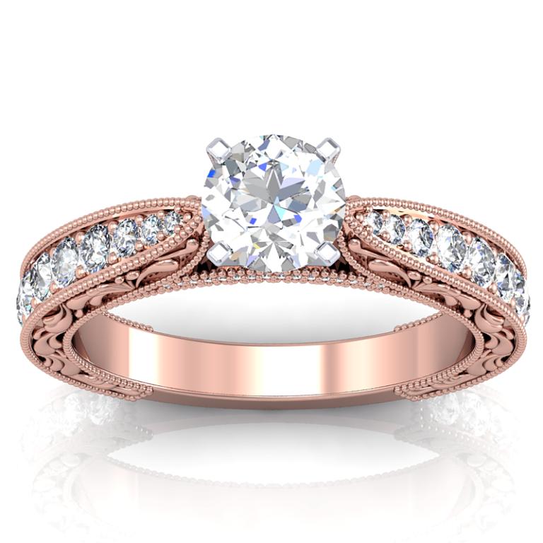 DER-Rose-Vintage-Round-Vintage-2-Top Top 70 Dazzling & Breathtaking Rose Gold Engagement Rings