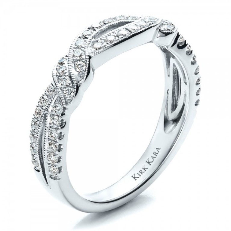 Diamond-Split-Shank-Wedding-Band-with-Matching-Engagement-Ring-Kirk-Kara-3Qtr-1459 60 Breathtaking & Marvelous Diamond Wedding bands for Him & Her