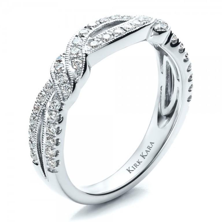 Diamond-Split-Shank-Wedding-Band-with-Matching-Engagement-Ring-Kirk-Kara-3Qtr-1459 60 Breathtaking & Marvelous Diamond Wedding bands for Him & Her