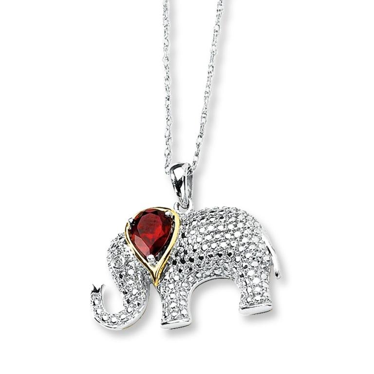 Elephant-Diamond-Pendant-Whit-Red-stone 50 Unique Diamond Necklaces & Pendants