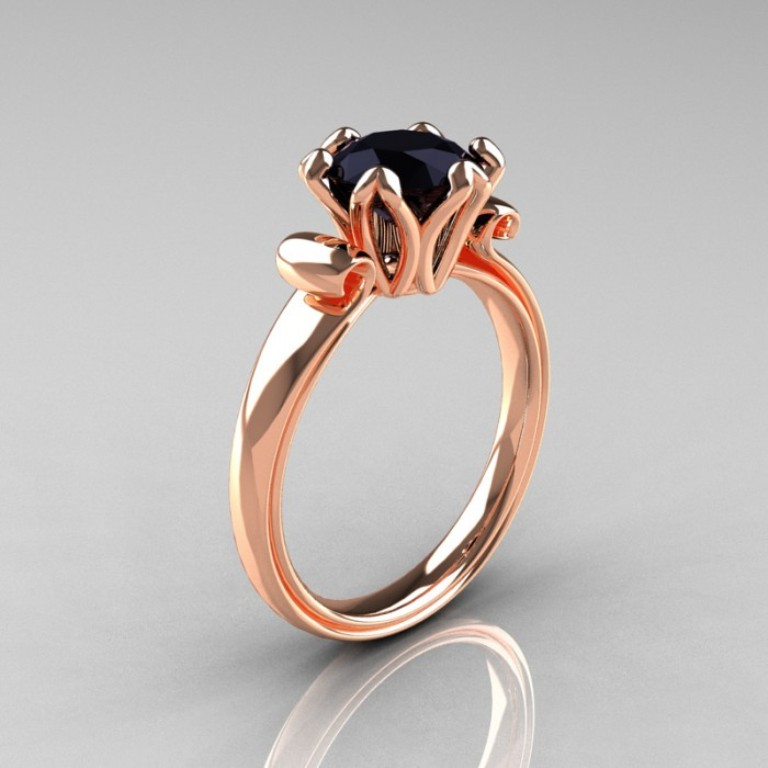 Enaggement-Ring-AR127-RGBD-P-700x700 50 Non-Traditional Black Diamond Rose Gold Engagement Rings