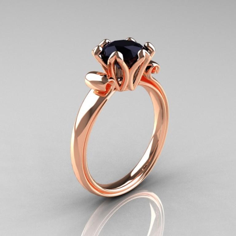 Enaggement-Ring-AR127-RGBD-P-700x700 50 Non-Traditional Black Diamond Rose Gold Engagement Rings