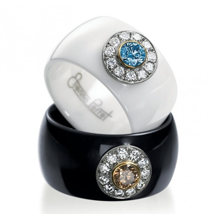 Etienne-Perret-Ceramique-Daisy-Rings.-Colored-diamonds-in-18kg-gem-ceramic 60 Unbelievable Ceramic Wedding Bands for Him & Her