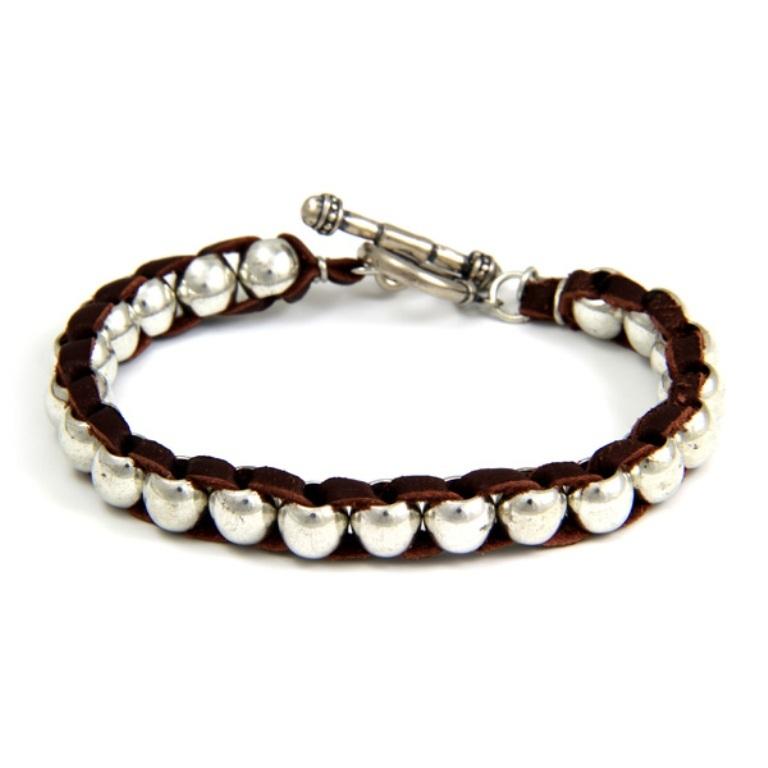 Ettika-Intertwined-Silver-Barrel-Bead-Mens-Bracelet-on-Brown-Leather 40 Elegant & Catchy Handmade Men's Jewelry