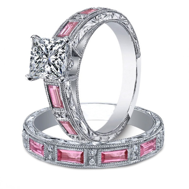 Excellent-Pink-Wedding-Ring-Sets 35 Dazzling & Catchy Bridal Wedding Ring Sets