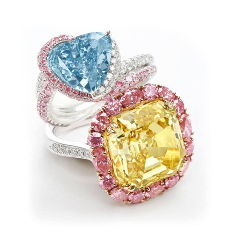 Fancy-Blue-Pink-Yellow-Diamond-Rings-Sothebys-Hong-Kong-April-2013 60 Magnificent & Breathtaking Colored Stone Engagement Rings