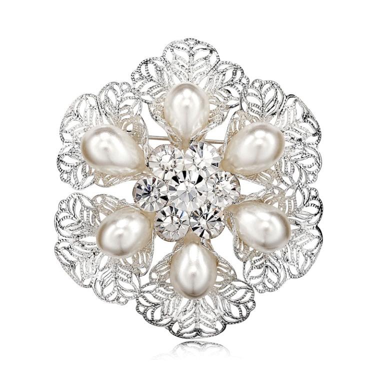 Filigree-Pearl-Wreath-Brooch-Pin-Silver__80508_zoom 50 Wonderful & Fascinating Pearl Brooches