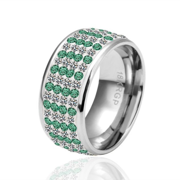 Free-shipping-True-Green-color-18krgp-gold-ring-green-Diamond-Crystal-Ring-Fashion-Rings-With-Elements 30 Fascinating & Dazzling Green diamond rings