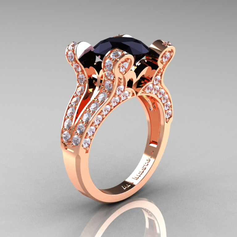 French-Vintage-Rose-Gold-3-0-Carat-Black-and-White-Diamond-Weddinng-Ring-Engagement-Ring-R228-RGDBD-P-700x700 50 Non-Traditional Black Diamond Rose Gold Engagement Rings